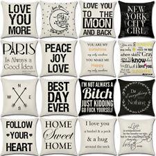 """18"""" Proverbs Letter Cotton Linen Cushion Cover Pillow Case Sofa Home Decor"""