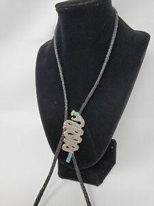 "Vintage Navajo Silver Tone Snake Pendant Turquoise Colored Stones Bolo Tie 33"""