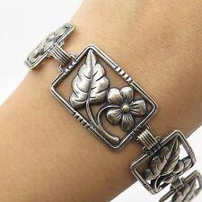 """Vtg Danecraft 925 Sterling Silver Wide Floral Link Bracelet 6 3/4"""""""