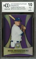 2010 bowman platinum prospects purple refr #pp9 MIKE MOUSTAKAS rc BGS BCCG 10