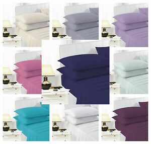 Easy Iron Percale 100% Poly Cotton Flat Bed Sheet Single Double King Super King