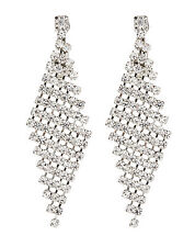 CLIP ON EARRINGS - silver chandelier earring with sparkling crystals - Cami