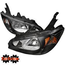 04-05 Honda Civic EM ES JDM Black Housing Headlights Amber 2/4 Coupe Sedan