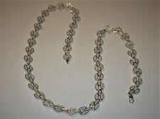 VINTAGE SOLID STERLING SILVER 925 DIAMOND CUT FILIGREE LINK NECKLACE 31 GRAMS