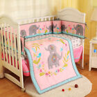 7PCS Baby Bedding Set Nursery Funny Elephants Quilt Bumper Infant Crib Skirt