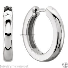 Platinum 950 Huggie Pair Heavy Hoop Hinged Earrings Polished 18mm 11 16 9grams