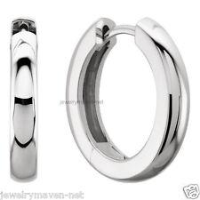 2x 1 Pair Huggie 14mm 2 Heavy Solid Platinum Hinged Hoop Earrings Polished