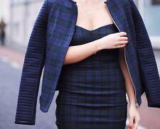 Zara Blau Grün Tartan Kariert Bandeau Minikleid mit seitlichen Reißverschlüssen Größe L Large
