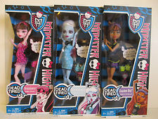 THREE Monster High Dead Tired Dolls- Abbey Bominable, Draculaura & Clawdeen Wolf
