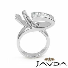 Diamond Engagement Women Fashion Ring 18k White Gold Princess Semi Mount 0.55Ct