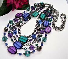 Wonderful! Long Gunmetal Blue Green & Purple Beads 3 Layer Front Necklace!