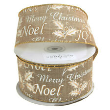 Holiday Greetings Linen Ribbon Wired Edge, Natural, 2-1/2-Inch, 20-Yard