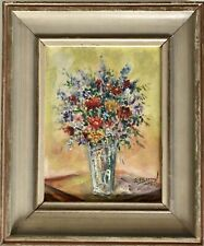 Vintage Mid Century Modern Artist Flowers Mini Miniature Oil Painting Framed