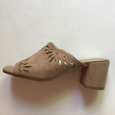 Kenneth Cole Reaction Shoes Sz 6 Mules Womens Tan Brown Laser-Cut Design New