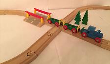 Holzeisenbahn Acht brio-komp. Bahnübergang 33388 Kreuzung Lok + 2 Waggons Holz