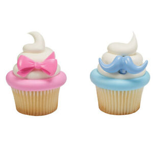 Baby Gender Reveal Cupcake Topper Rings - Set of 12 (Pink Bow and Blue Mustache)