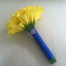 WEDDING FLOWERS YELLOW REAL TOUCH CALLA LILY BRIDESMAID BOUQUET BLUE BROOCH