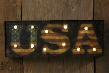 Led USA new Wall Sign in Distressed Tin