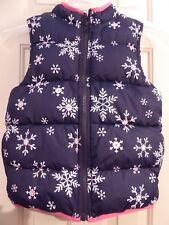 Gymboree Girls Navy Blue Zip Front Puffer Vest w/Snowflakes Size L 10-12 EUC