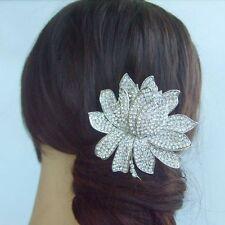 "Gorgeous 3.54"" Clear Rhinestone Crystal Flower Bridal Hair Comb Tiara 04784C1"