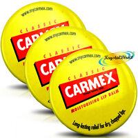 3x Carmex Classic Moisturising Lip Protection Balm Pot For Dry Chapped Lips 7.5g