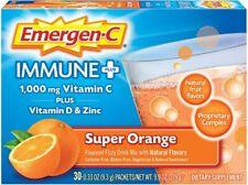 Emergen-C Immune PLUS 1000mg Vitamin C, D + Zinc 30 packs Orange -FREE SHIPPING