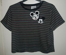 Ladies Disney Mickey Mouse Top Size 16 T Shirt Stripey Stretchy Multi Coloured