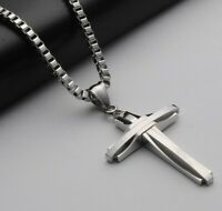 Silber Anhänger Kreuz mit Halskette 50cm Edelstahl Kette Kirche Männer Herren