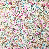 100 x 6mm WHITE Alphabet Beads COLOURFUL LETTERS A-Z, Pony Beads, Dummy Clips