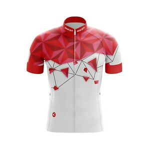 Men Jersey Bicycle Sportswear Top Cycling Clothing Short sleeves Red Diamond