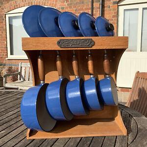 Le Creuset Enamelled Blue Cast Iron 5 Pans Set With Le Creuset Wooden Rack