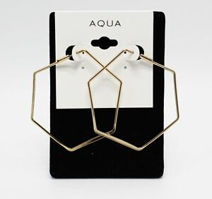 New Aqua Brand Gold Hexagon Hoop Earrings from Bloomingdales's  #AQ9