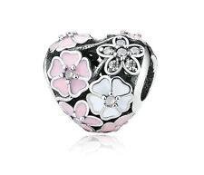 Charm Coeur Fleurs poétiques Argent S925 + pochette PANDORA