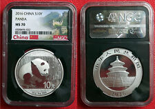 2016 Chinese Silver Panda 1oz .999 Bullion Coin. NGC MS 70. Black Core.