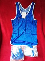 LOTE 3 x Le Coq Sportif Hombre Azul sin mangas Camiseta Talla 5, 3 vintage retro
