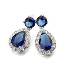 18K  WHITE GOLD PLATED SAPPHIRE BLUE AUSTRIAN CRYSTAL AND CZ DANGLE  EARRINGS