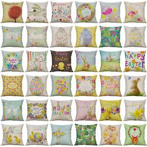 "Easter Pattern Cotton Linen Soft Home Decorative Pillow Case Cushion Cover 18"""