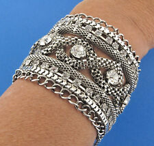 Silver Plate Crystal Rhinestone Rope Mesh Bracelet Bangle Signed AB