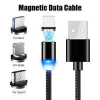 3 IN 1 Magnetic Micro USB/TypeC /IOS Fast Charging Charger Data Sync Cable Cord!
