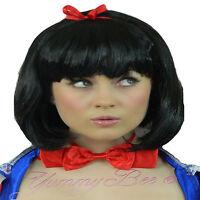 Yummy Bee Snow Princess Wig Fancy Dress Black White Women Bob Book Fairytale Bow
