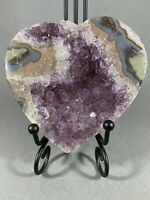 AMETHYST CRYSTAL (WITHIN AGATE) HEART - FROM A URUGUAY MINE - LOVELY