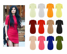 Womens Celebs Curve Hem Turtle Polo Neck Bodycon Mini Short Tunic Dress 8-26