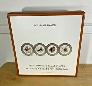 New Williams Sonoma PLYMOUTH GATE SALAD PLATES 4 PC Fall Harvest Thanksgiving