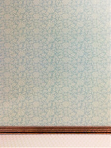"Dollhouse Miniature Brodnax Wallpaper Pale Green & Cream ""Tea Rose"" 1:12 Scale"
