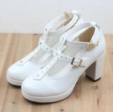 Ladies Womens T strap Lolita Chunky Platform Shoes Buckle high heel pumps cute