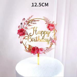 Gold Flower Anniversary Happy Birthday Cake Topper Acrylic Wedding Party Decor