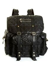 Balmain Men's Black Diamond-Quilted Leather Backpack