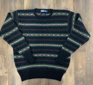 Polo Ralph Lauren Sweater Wool Medium Fair Isle Nordic Pullover Mens M