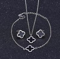 925 Sterling Silver Black 4-leaf Clover Jewelry Set: Necklace+Earring+Bracelet