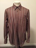 BUGATCHI Uomo Long Sleeve Shirt Mens Size XL Brown Striped EUC